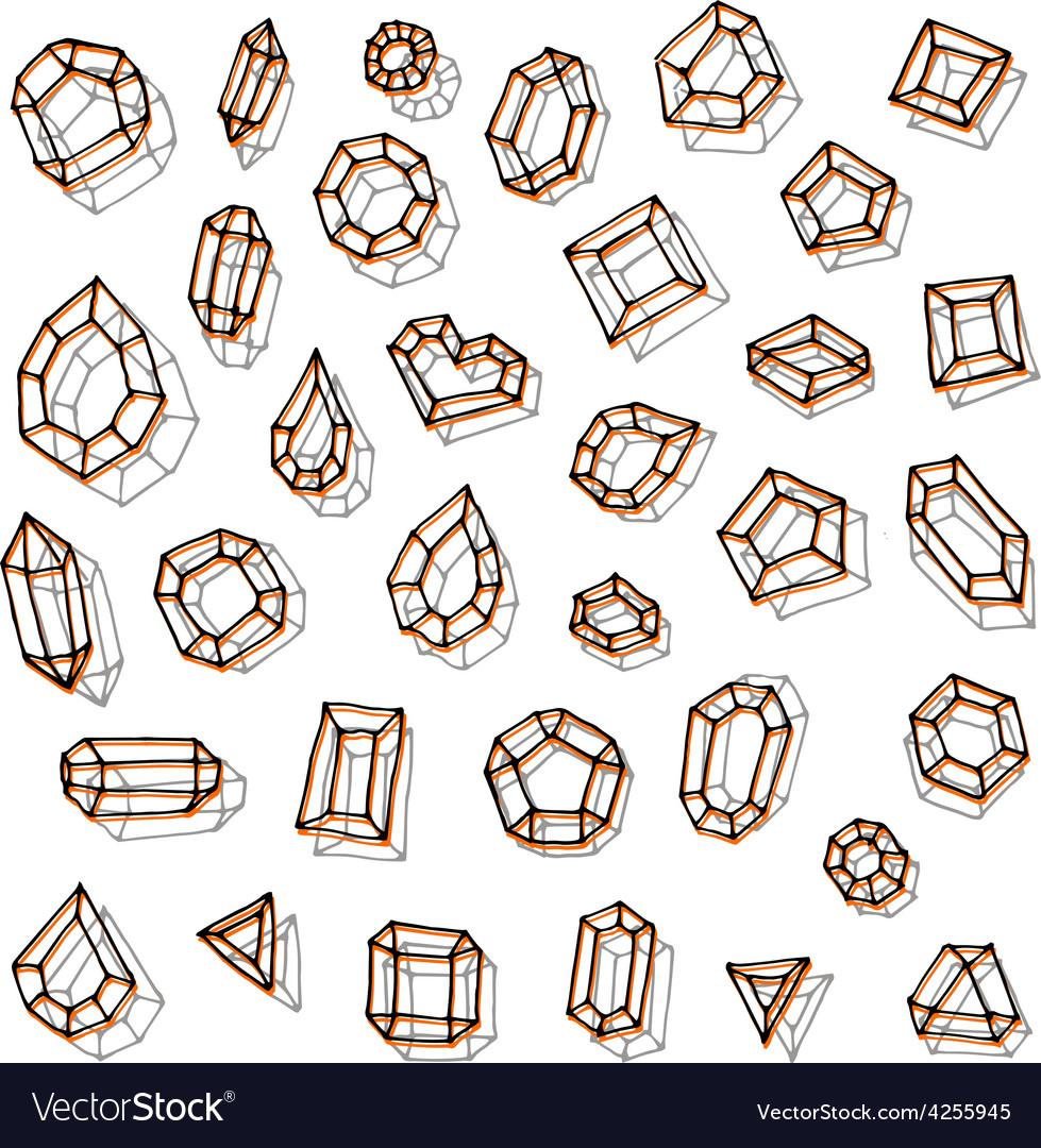 Hand drawn gemstones abstraction vector | Price: 1 Credit (USD $1)