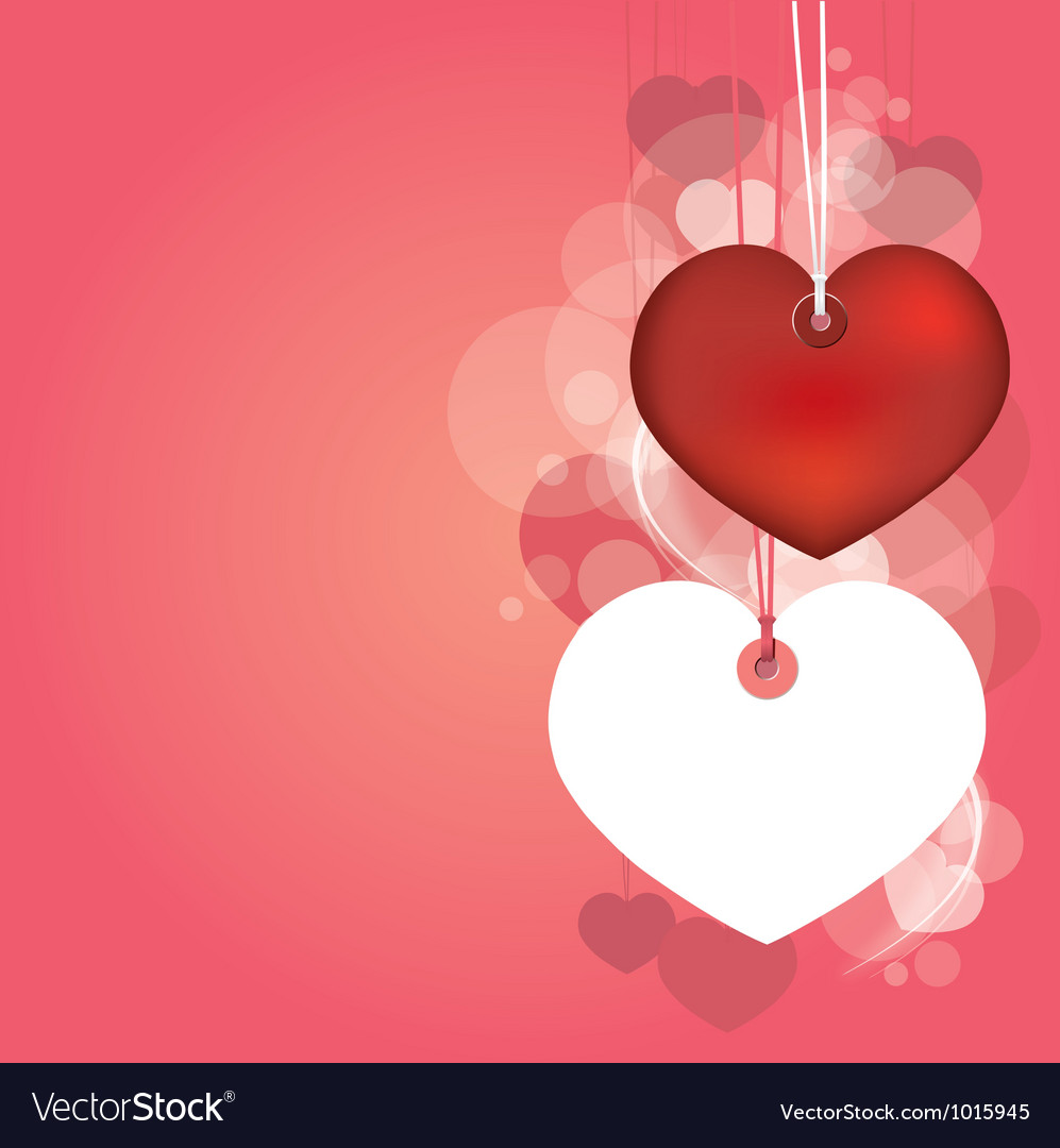 Hanging hearts with love blank page vector | Price: 1 Credit (USD $1)