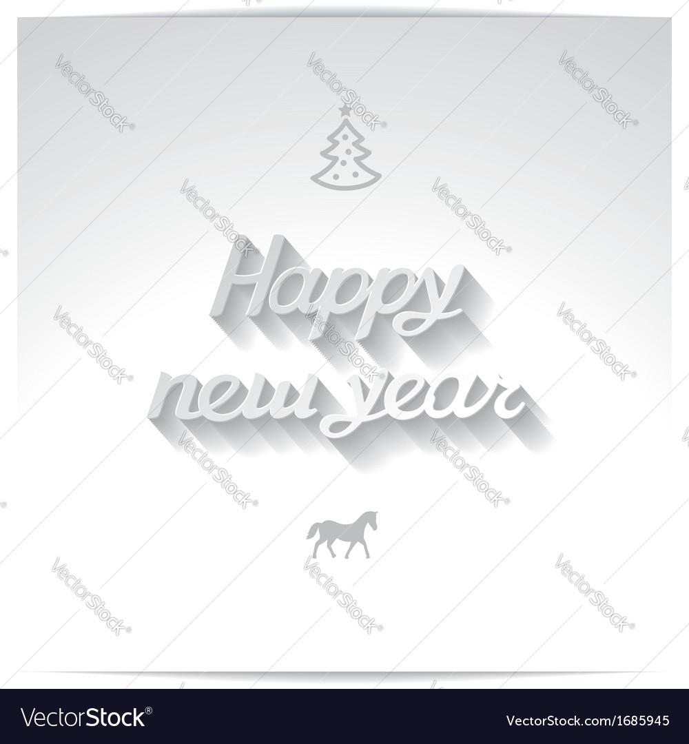 Happy new year white handwriting greetings vector | Price: 1 Credit (USD $1)