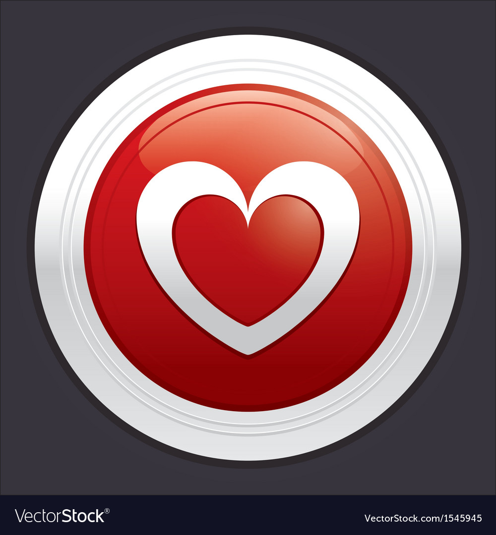 Heart button red round love sticker vector | Price: 1 Credit (USD $1)