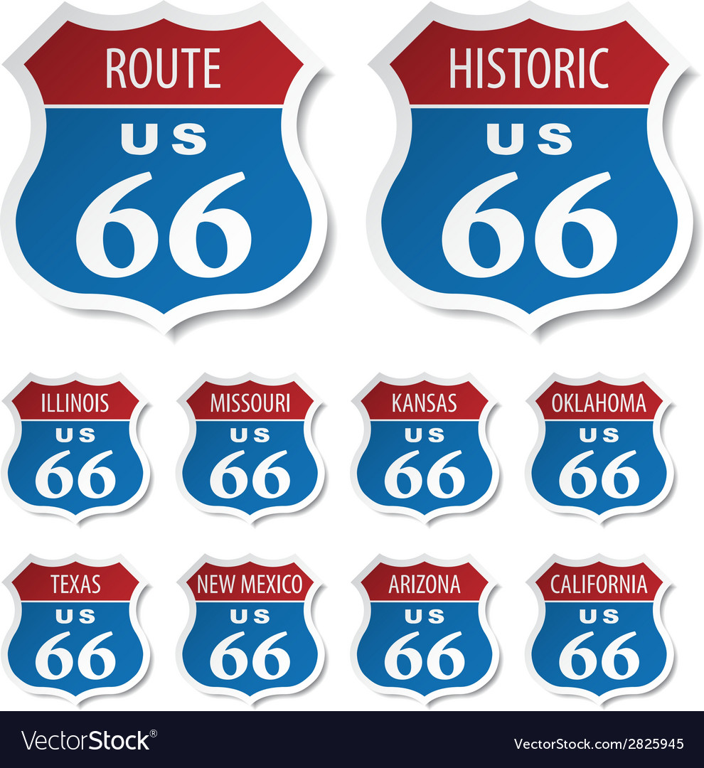 Route 66 colored stickers vector | Price: 1 Credit (USD $1)