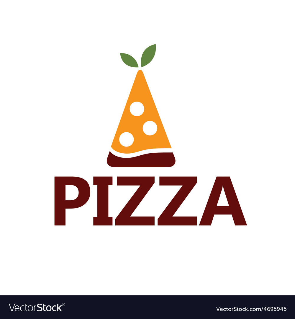 Slice of pizza with leaves design template vector | Price: 1 Credit (USD $1)