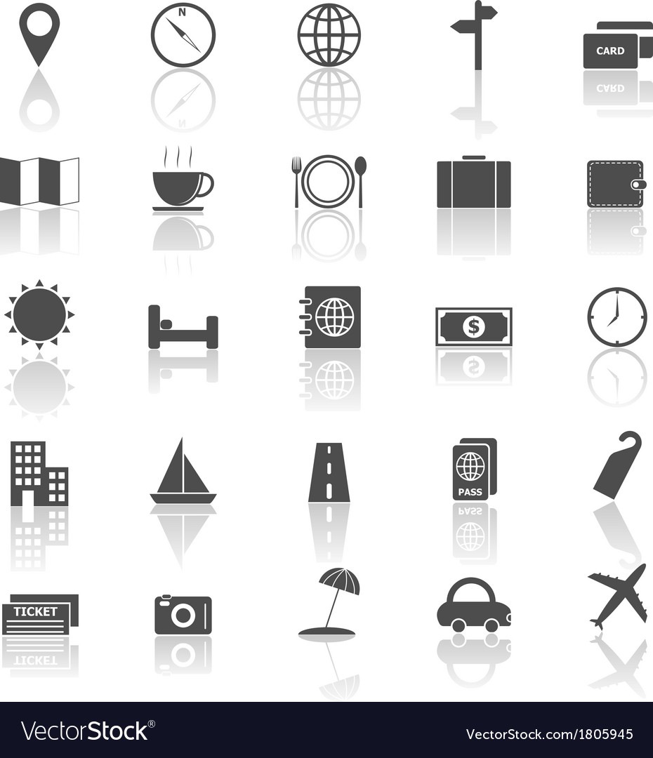 Travel icons with reflect on white background vector | Price: 1 Credit (USD $1)