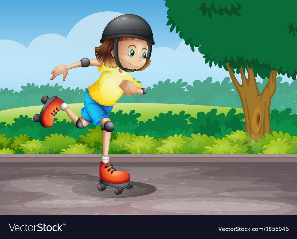 A young girl rollerskating at the street vector | Price: 3 Credit (USD $3)