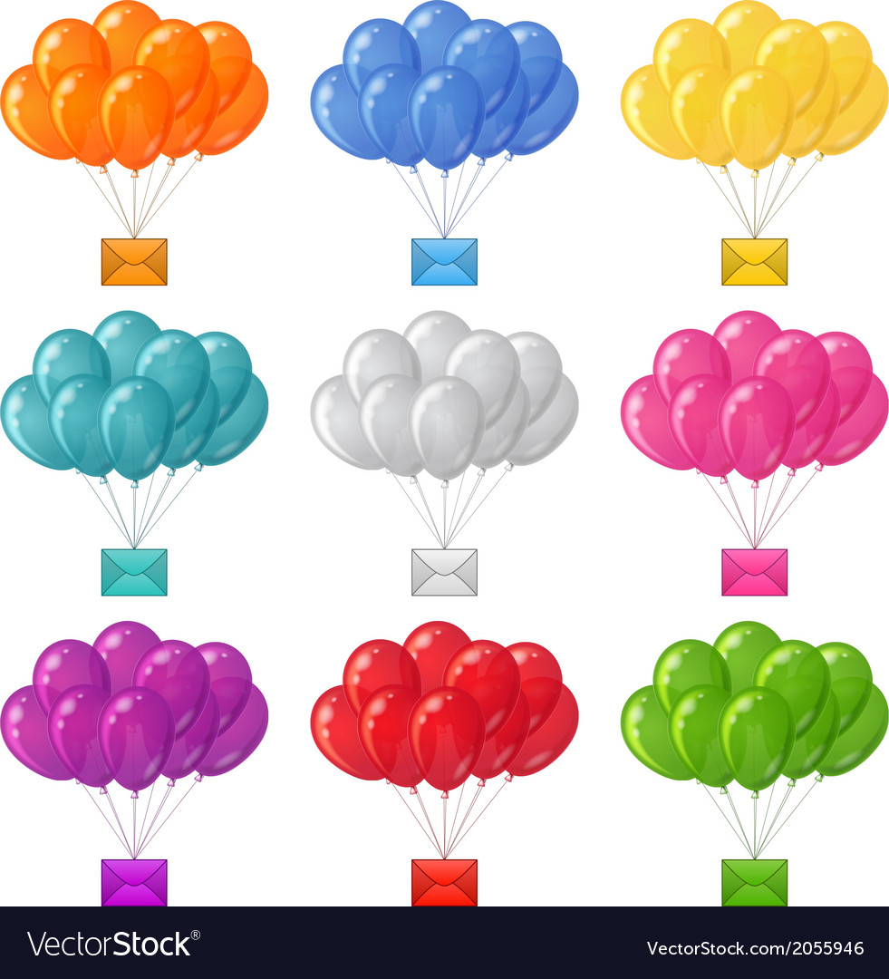 Balloons bunches with letters set vector | Price: 1 Credit (USD $1)