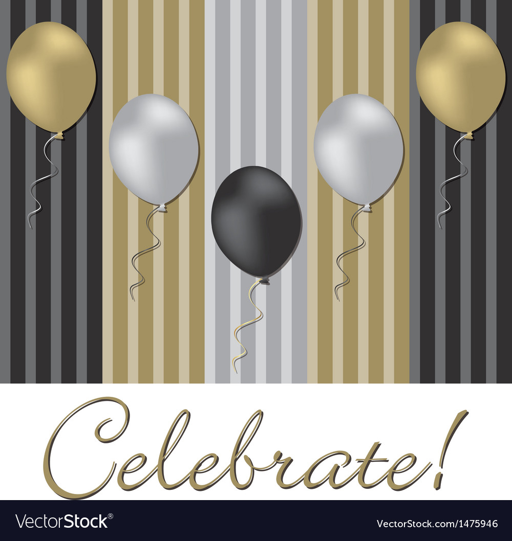 Celebrate with balloons vector | Price: 1 Credit (USD $1)
