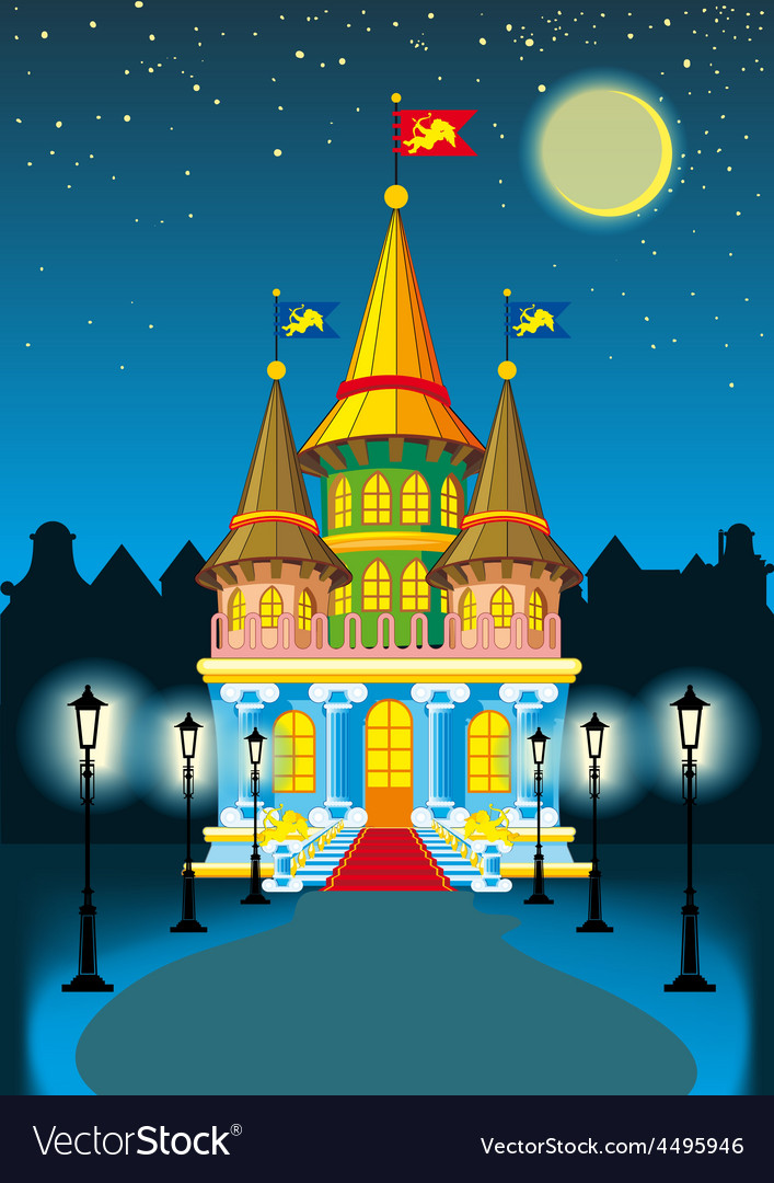Fairytale castle at night vector   Price: 3 Credit (USD $3)
