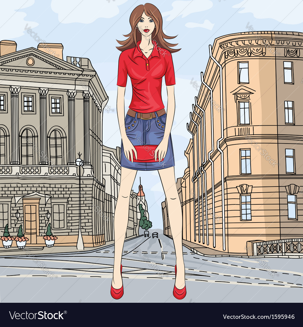 Fashion girl in the street in st petersburg vector