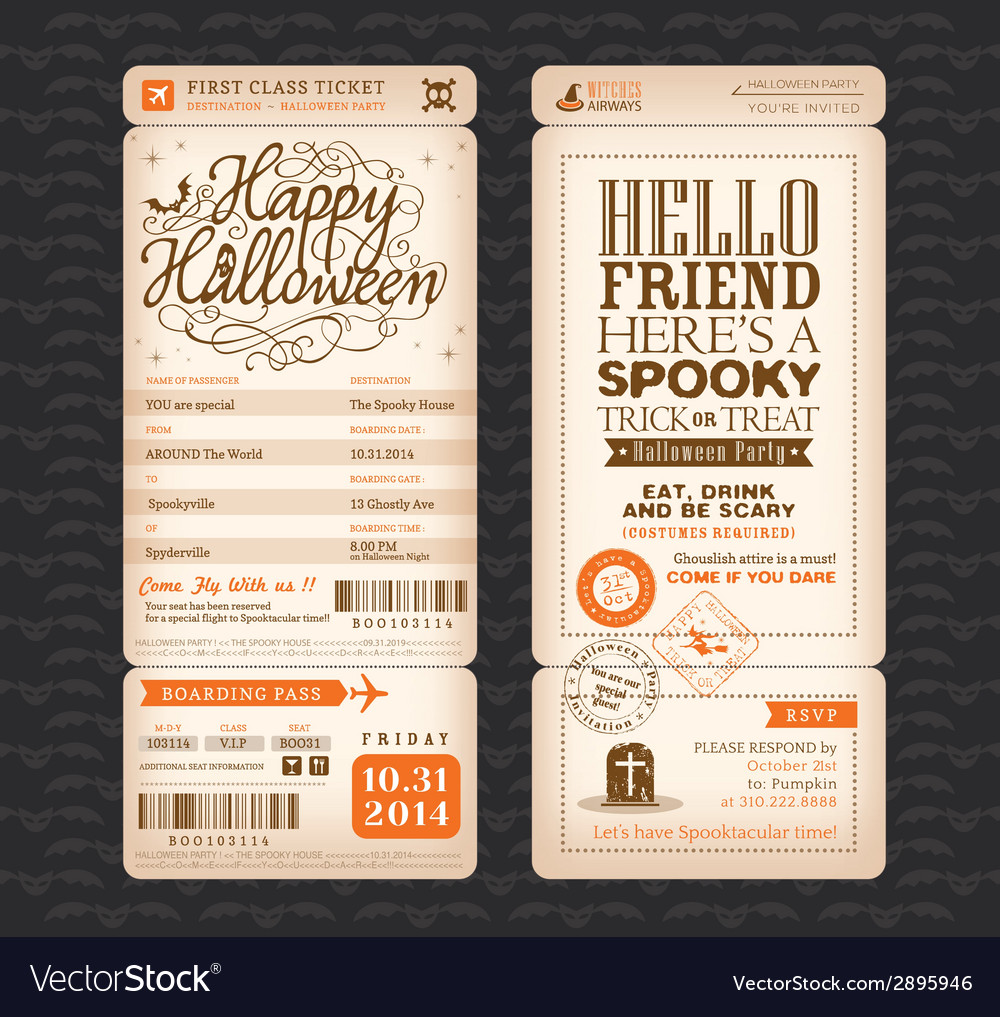 Halloween party vintage style boarding pass ticket vector | Price: 1 Credit (USD $1)
