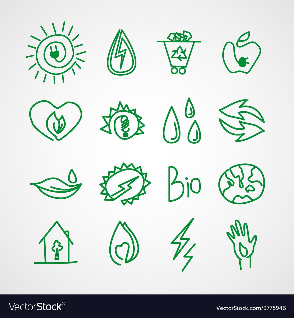 Hand drawn ecology icons doodles vector | Price: 1 Credit (USD $1)