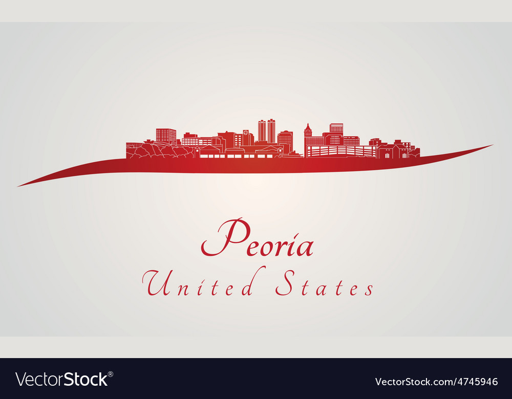 Peoria skyline in red and gray background in vector | Price: 1 Credit (USD $1)