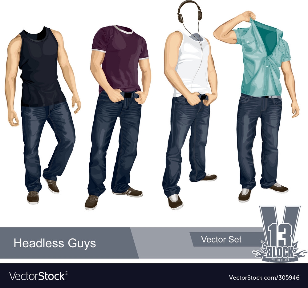 Set of headless guys isolated vector | Price: 3 Credit (USD $3)