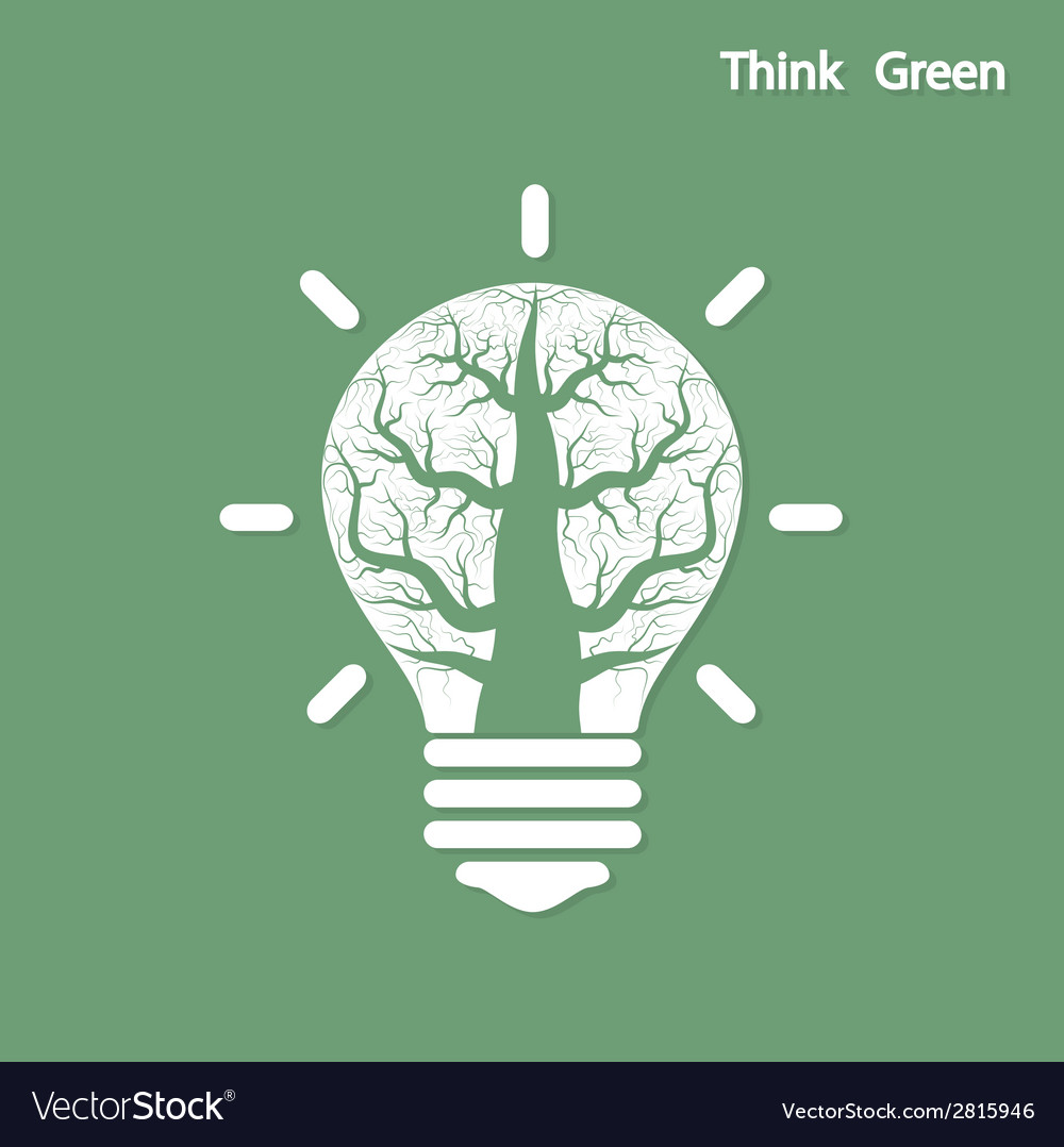 Tree of green idea shoot grow in a light bulb vector | Price: 1 Credit (USD $1)