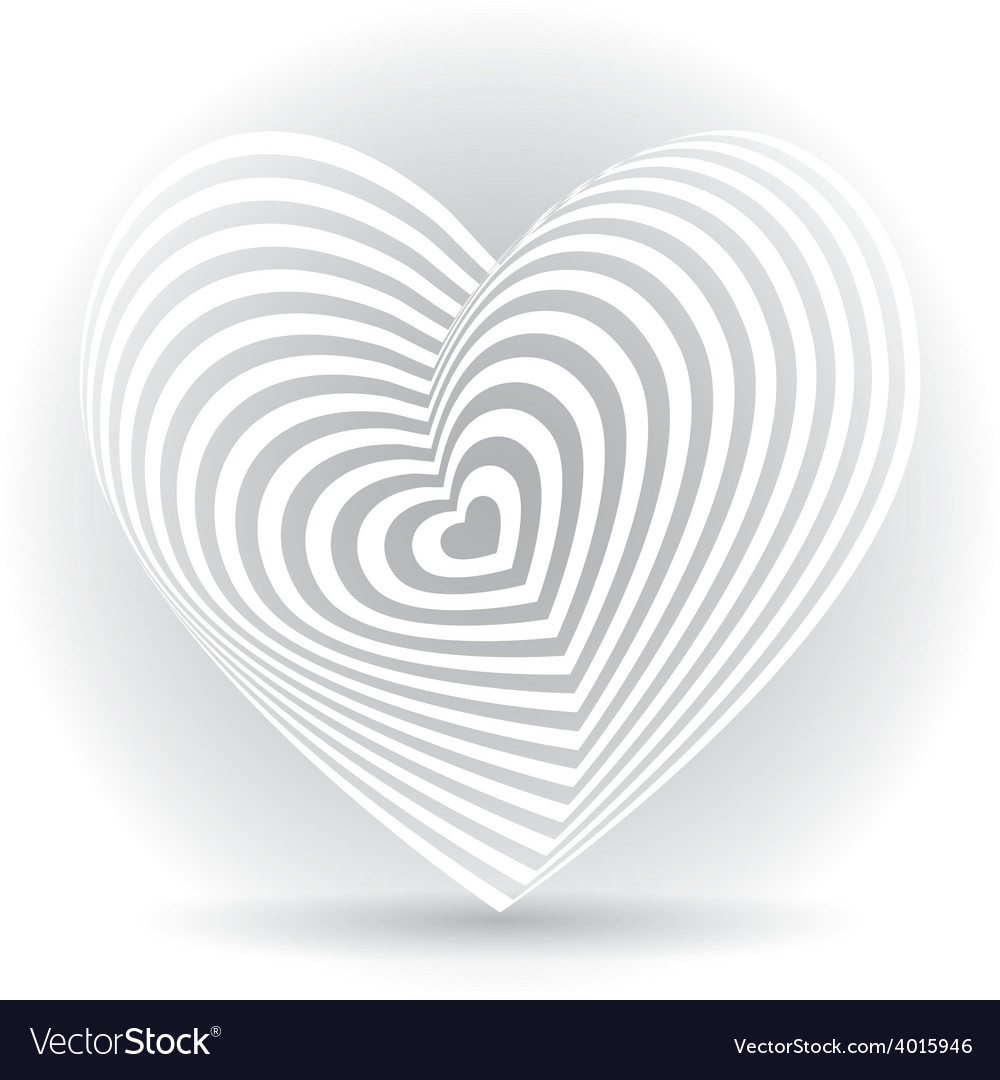 White heart on a white background optical of 3d vector | Price: 1 Credit (USD $1)