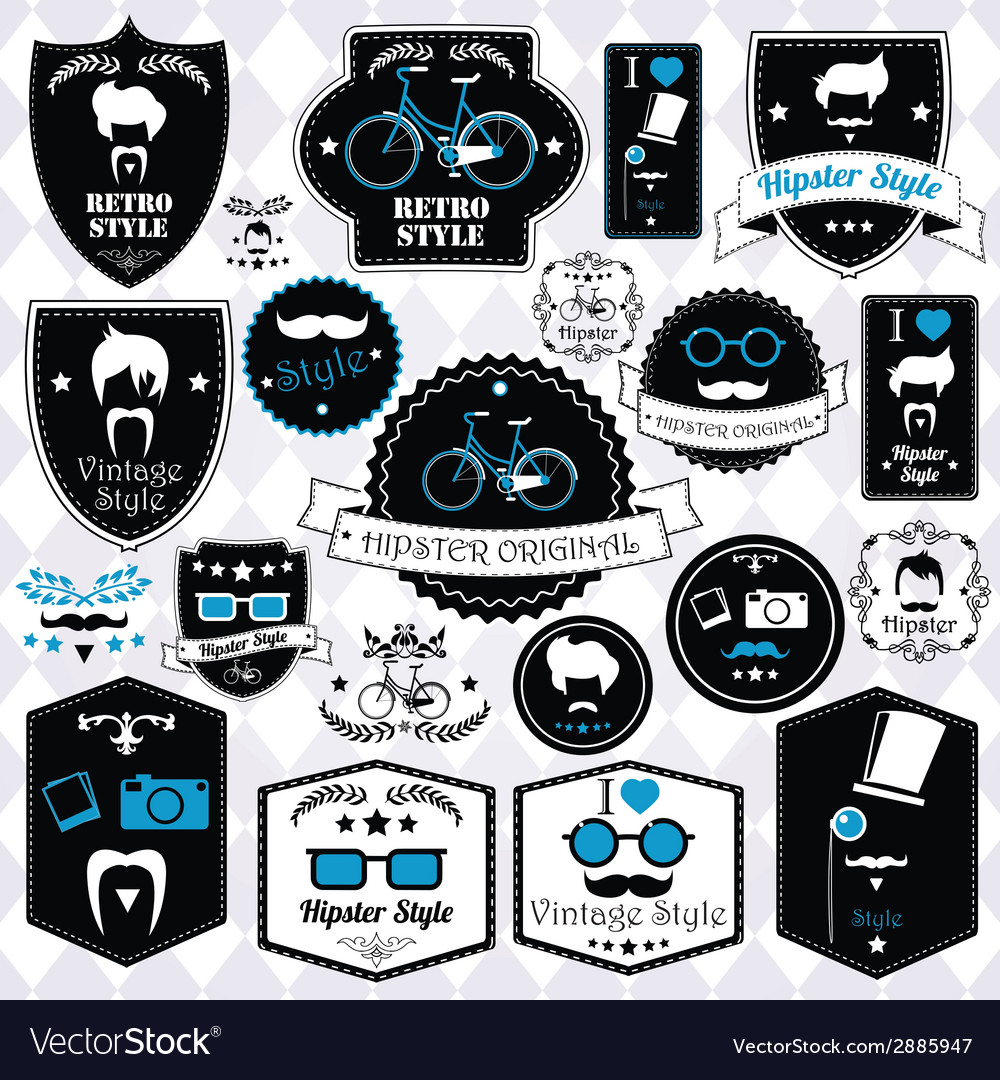 Collection of vintage hipster badges labels and vector | Price: 1 Credit (USD $1)