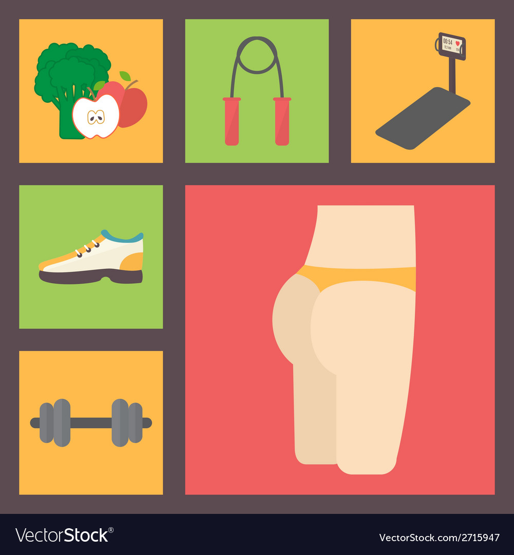 Fitness sport equipment caring figure diet icons vector | Price: 1 Credit (USD $1)