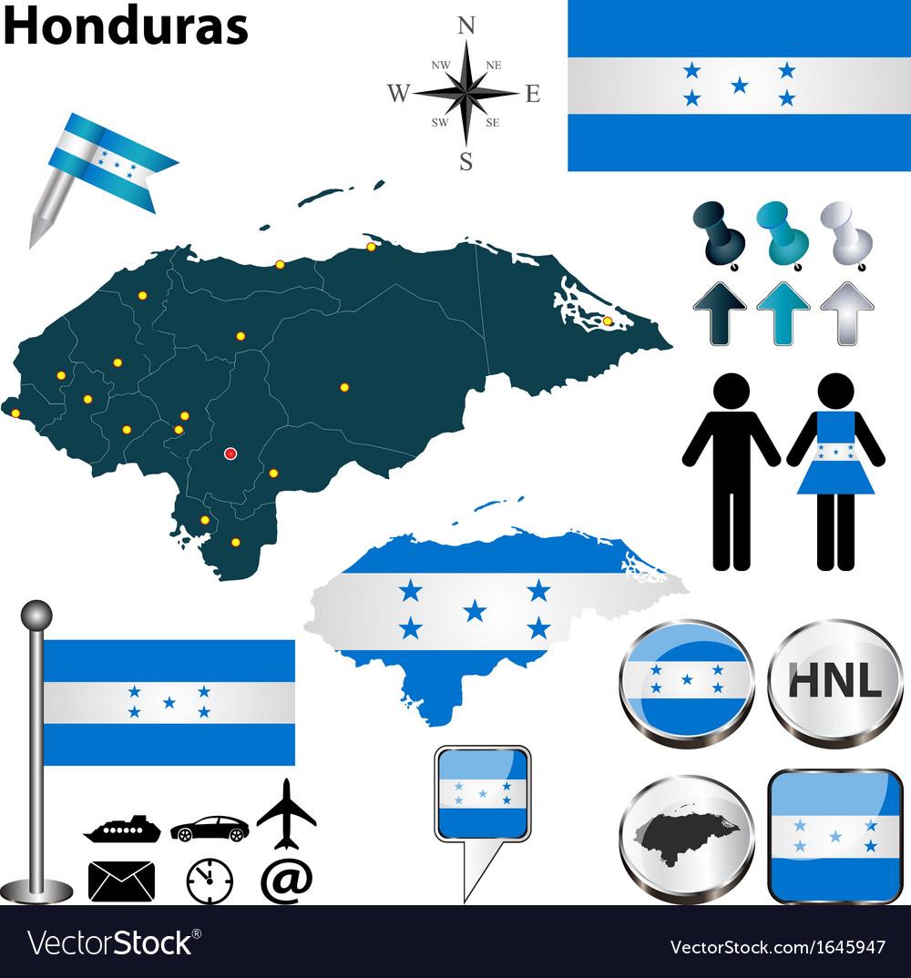 Honduras map vector | Price: 1 Credit (USD $1)