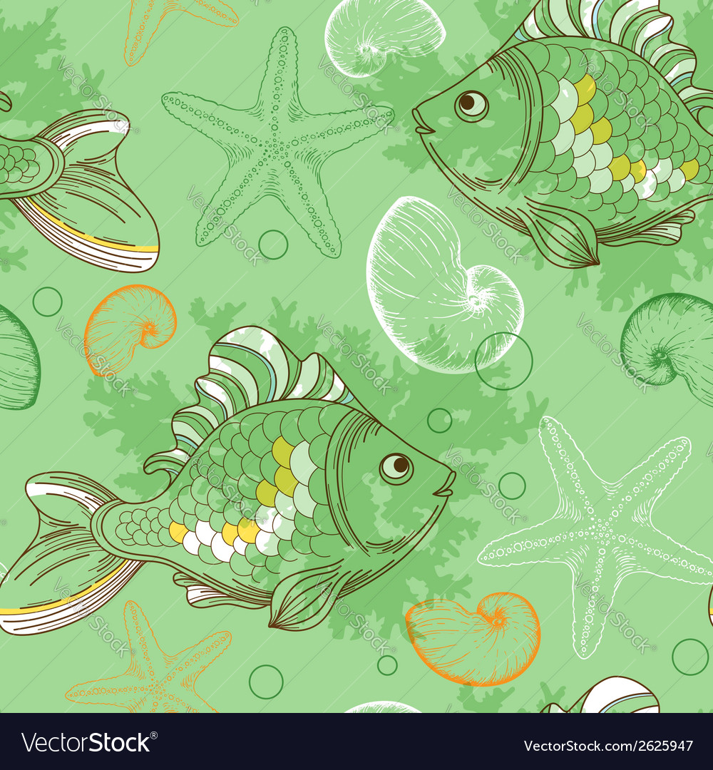 Marine seamless pattern with tropical fishes vector | Price: 1 Credit (USD $1)
