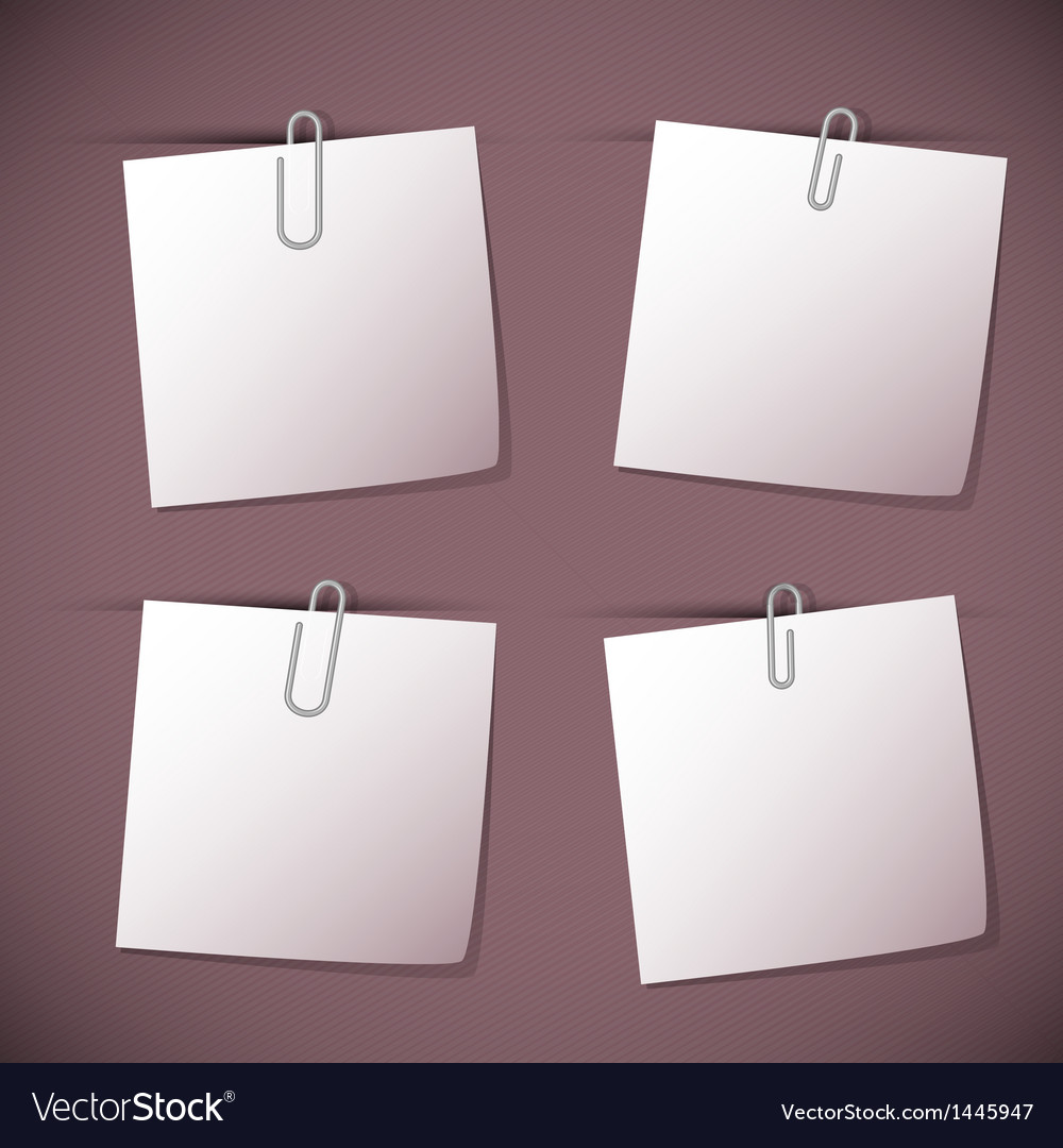Note papers with paperclip on violet background vector | Price: 1 Credit (USD $1)