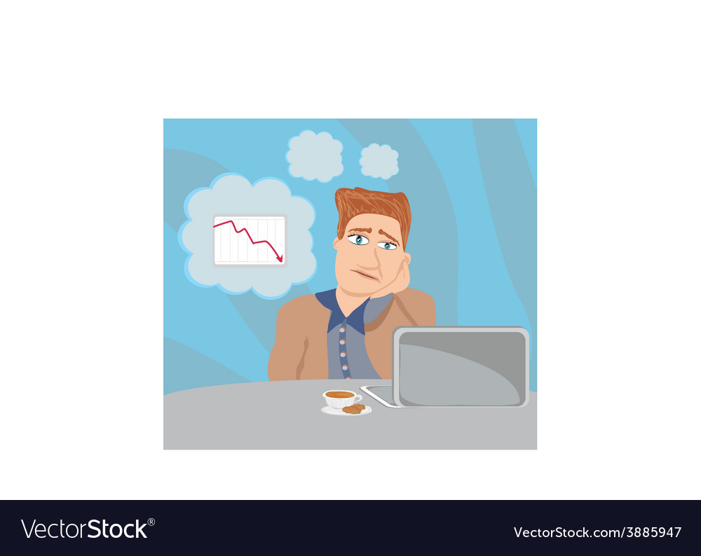 Sad and thoughtful businessman sitting and using a vector | Price: 1 Credit (USD $1)