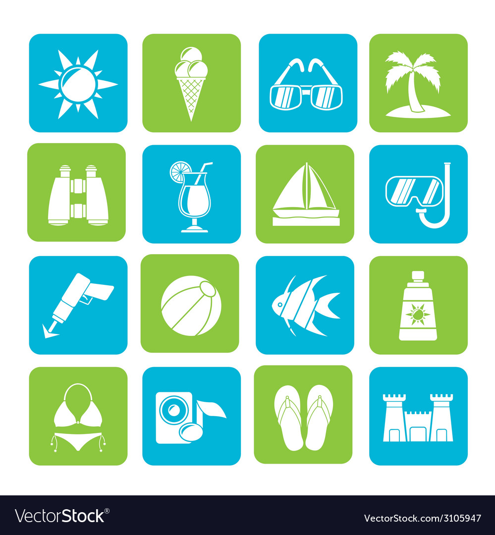 Silhouette tropic and summer icons vector | Price: 1 Credit (USD $1)