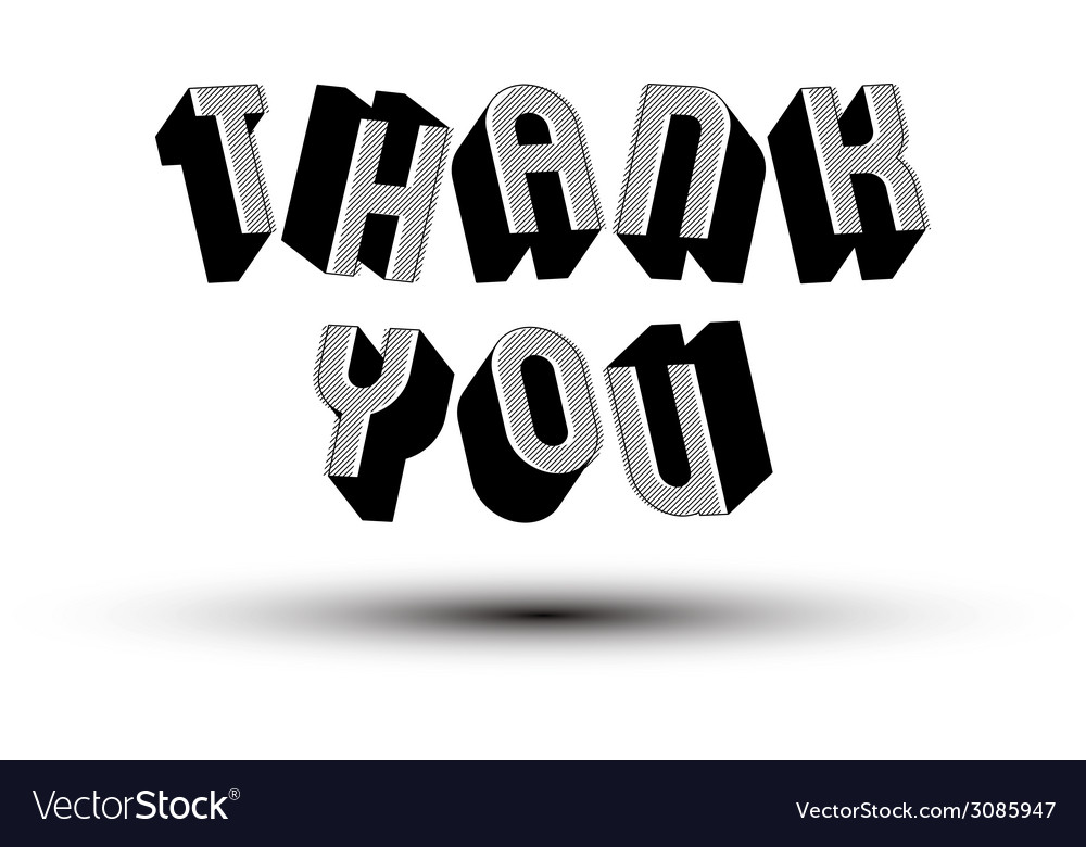 Thank you phrase made with 3d retro style vector | Price: 1 Credit (USD $1)