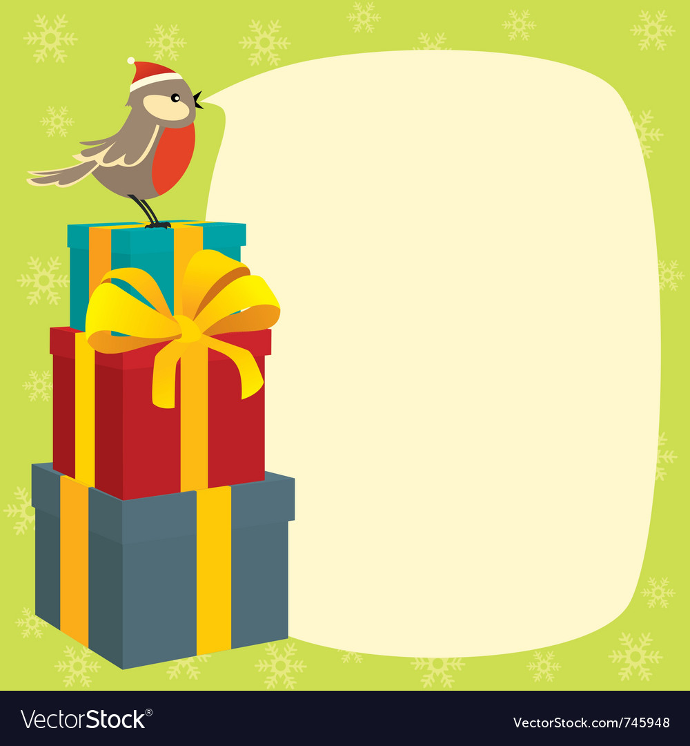 Birdy wishes merry christmas vector | Price: 1 Credit (USD $1)