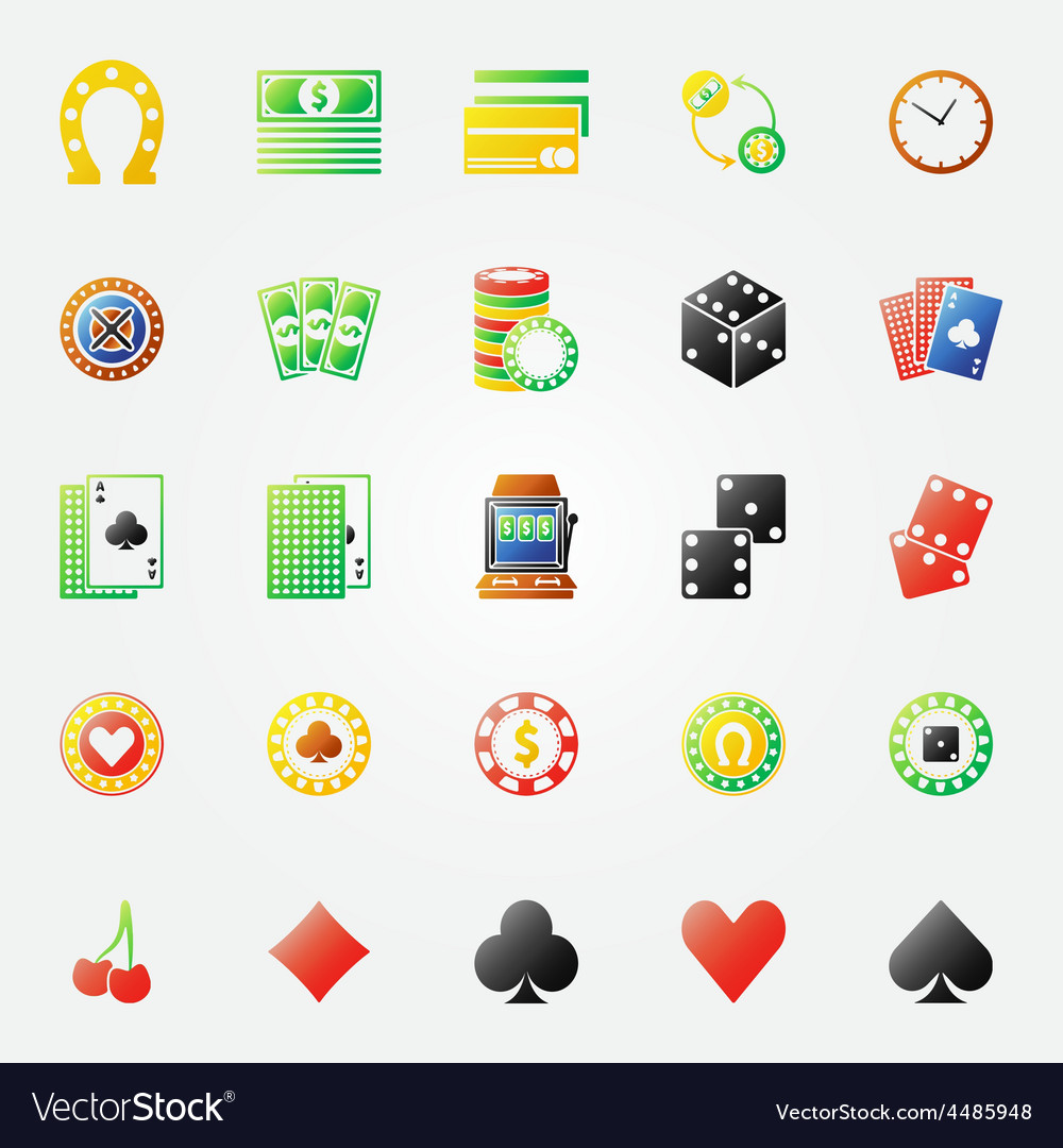 Casino icons bright set vector | Price: 1 Credit (USD $1)