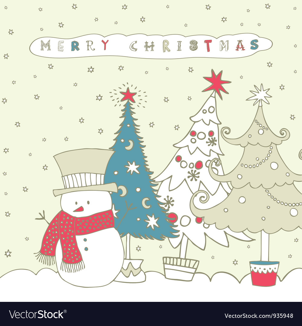 Christmas snowman card vector | Price: 1 Credit (USD $1)