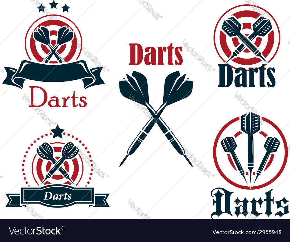 Darts icons emblems or symbols vector | Price: 1 Credit (USD $1)