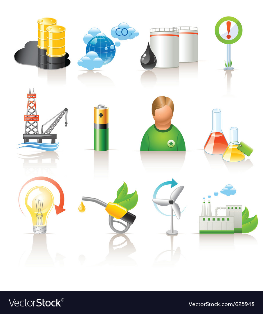Ecology and fuel icons vector | Price: 1 Credit (USD $1)