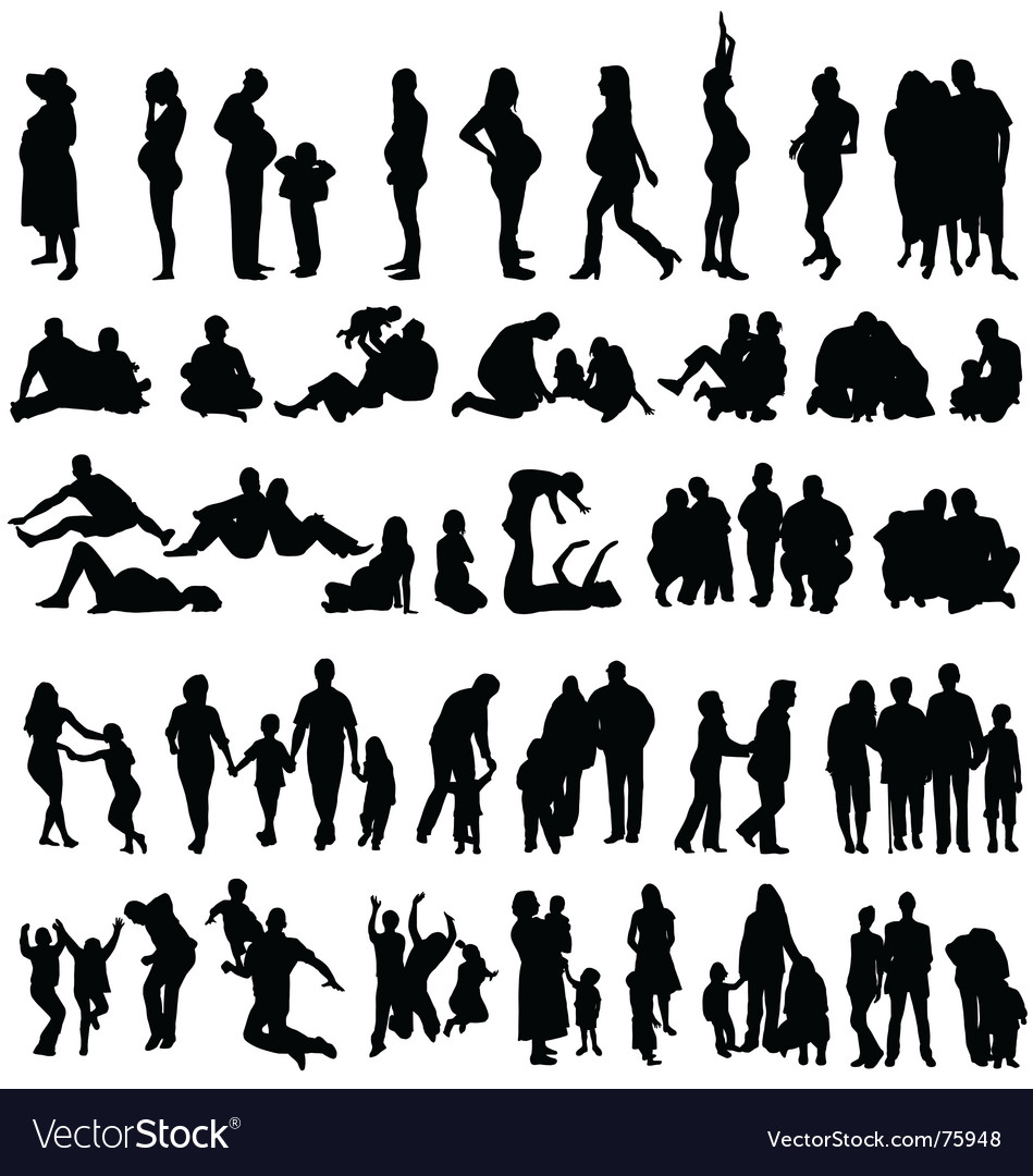 Family silhouettes vector | Price:  Credit (USD $)