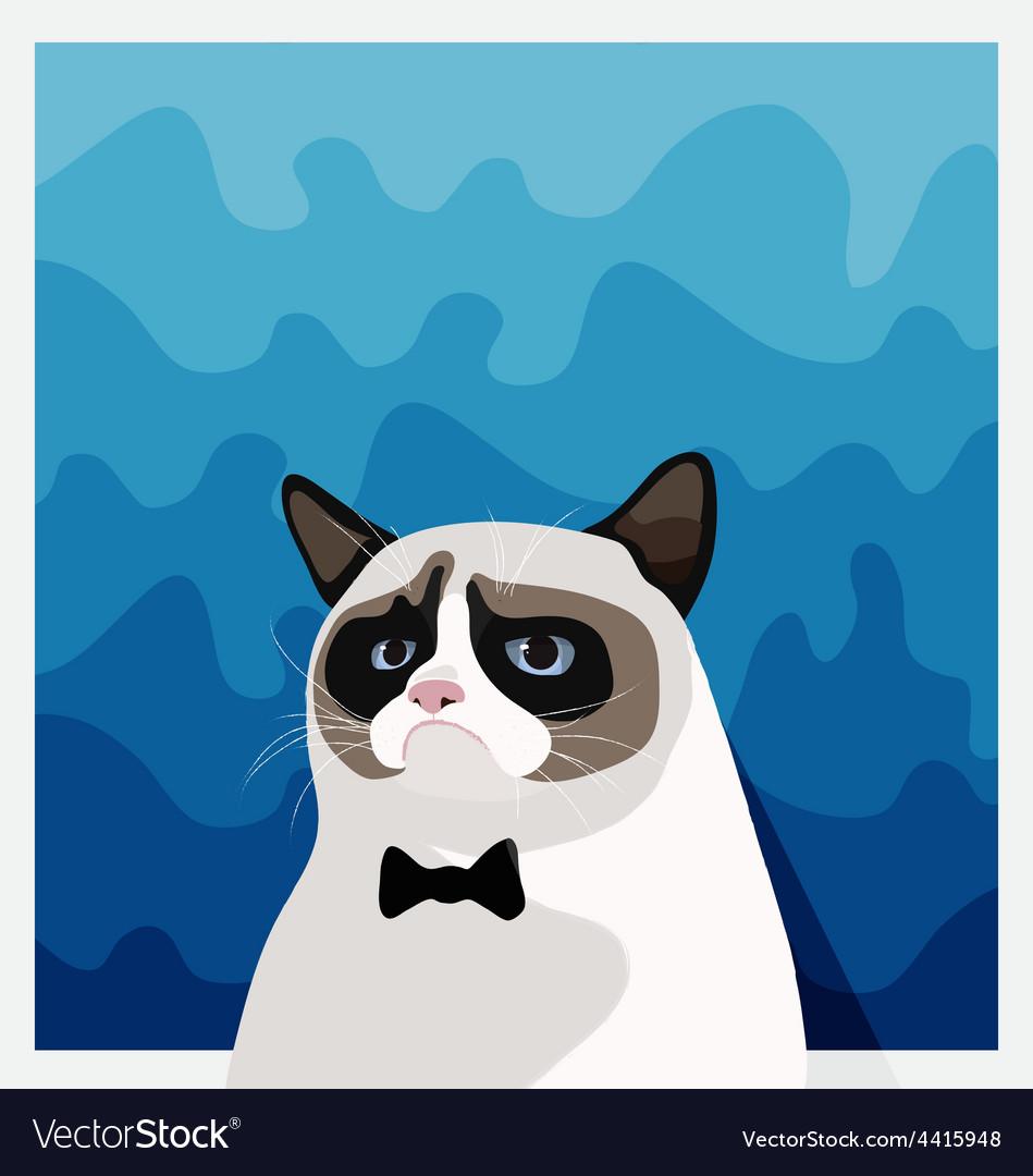 Grumpy birman cat with black bow tie vector | Price: 1 Credit (USD $1)