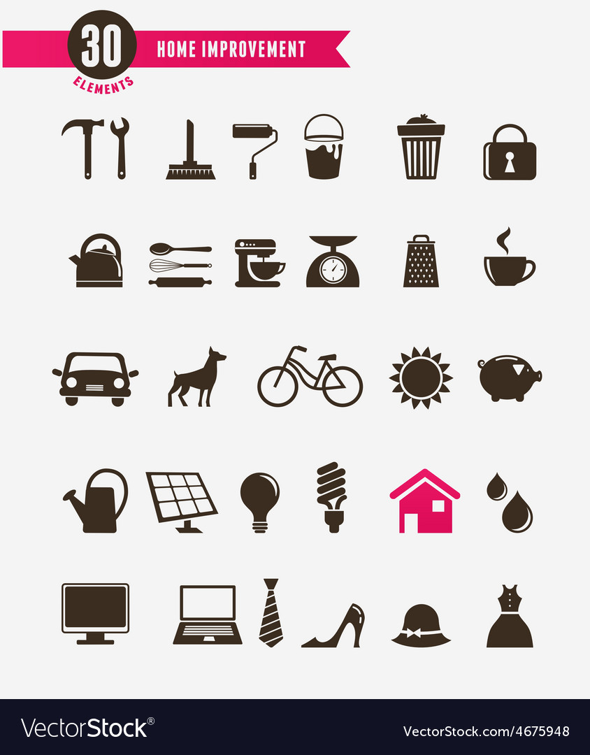 Home - icon set vector | Price: 1 Credit (USD $1)