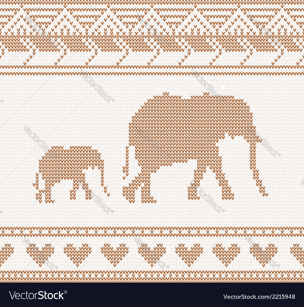 Knitted pattern with elephant vector | Price: 1 Credit (USD $1)