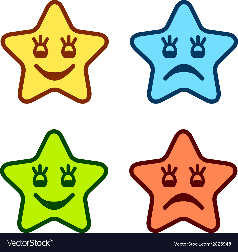 Positive and negative faces of stars vector | Price: 1 Credit (USD $1)