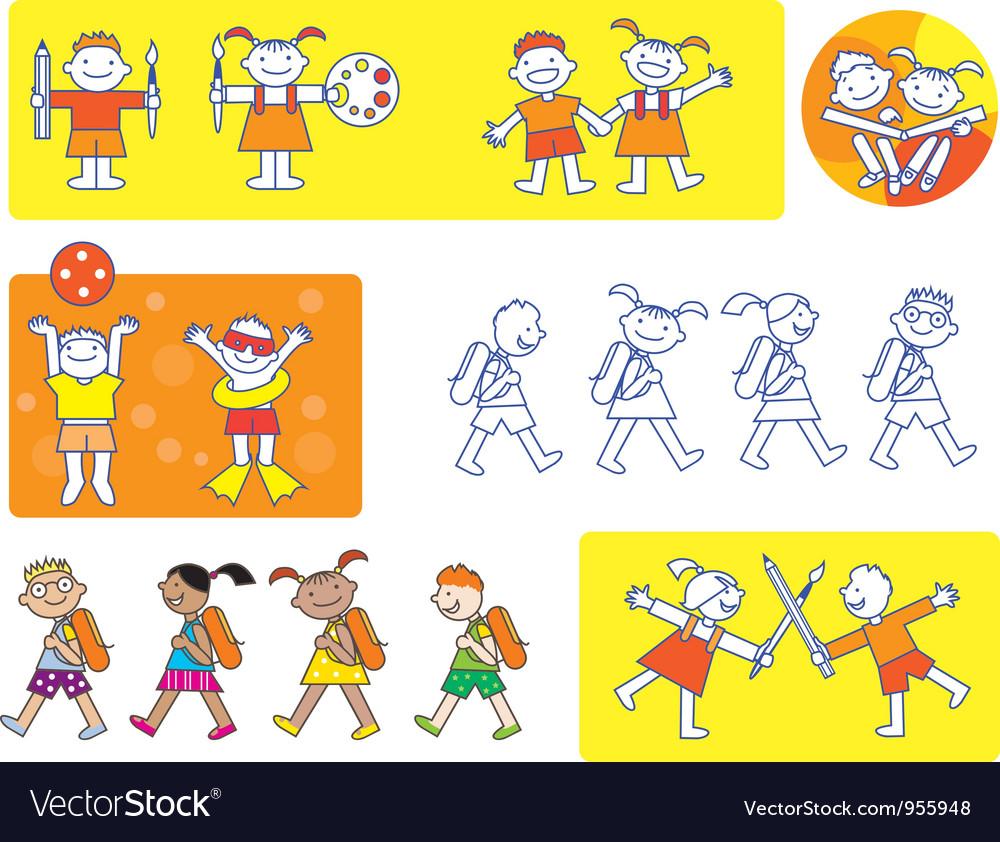 School kids icons vector   Price: 1 Credit (USD $1)