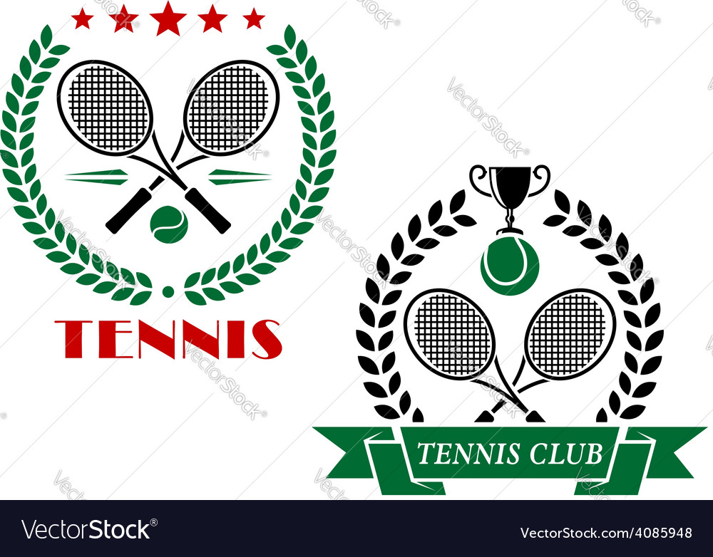 Tennis game icons and emblems vector | Price: 1 Credit (USD $1)