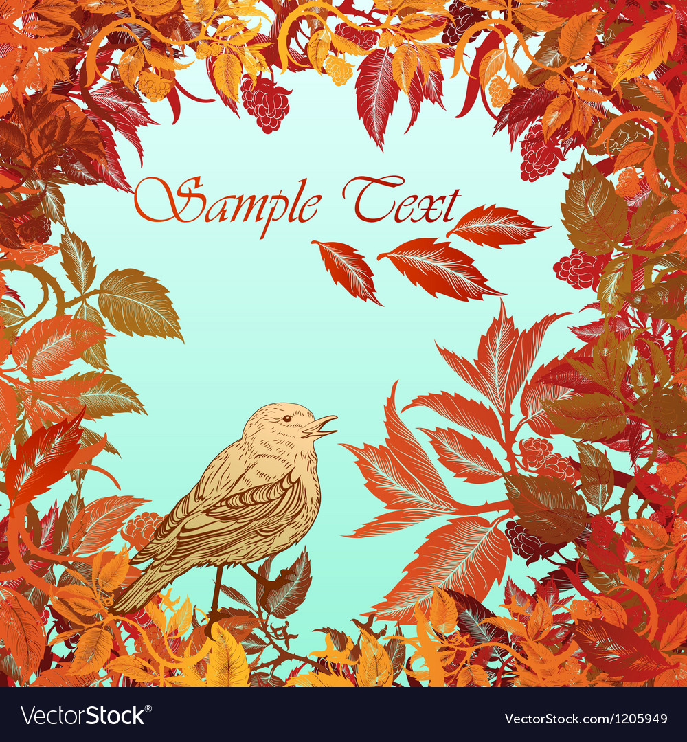 Autumn colorful background with leaves and bird vector | Price: 1 Credit (USD $1)