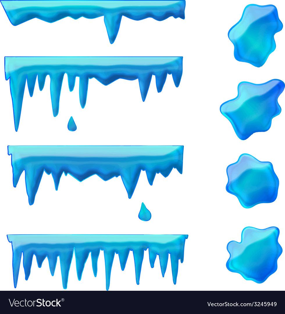 Blue icicles and frozen puddles vector | Price: 1 Credit (USD $1)