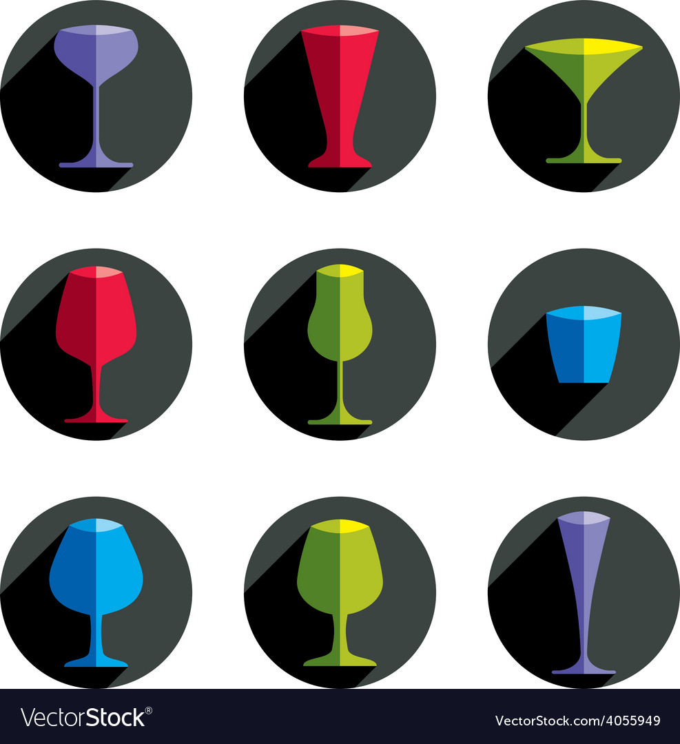 Colorful drinking glasses collection set of vector | Price: 1 Credit (USD $1)