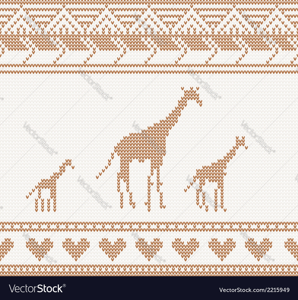 Knitted pattern with giraffe vector | Price: 1 Credit (USD $1)