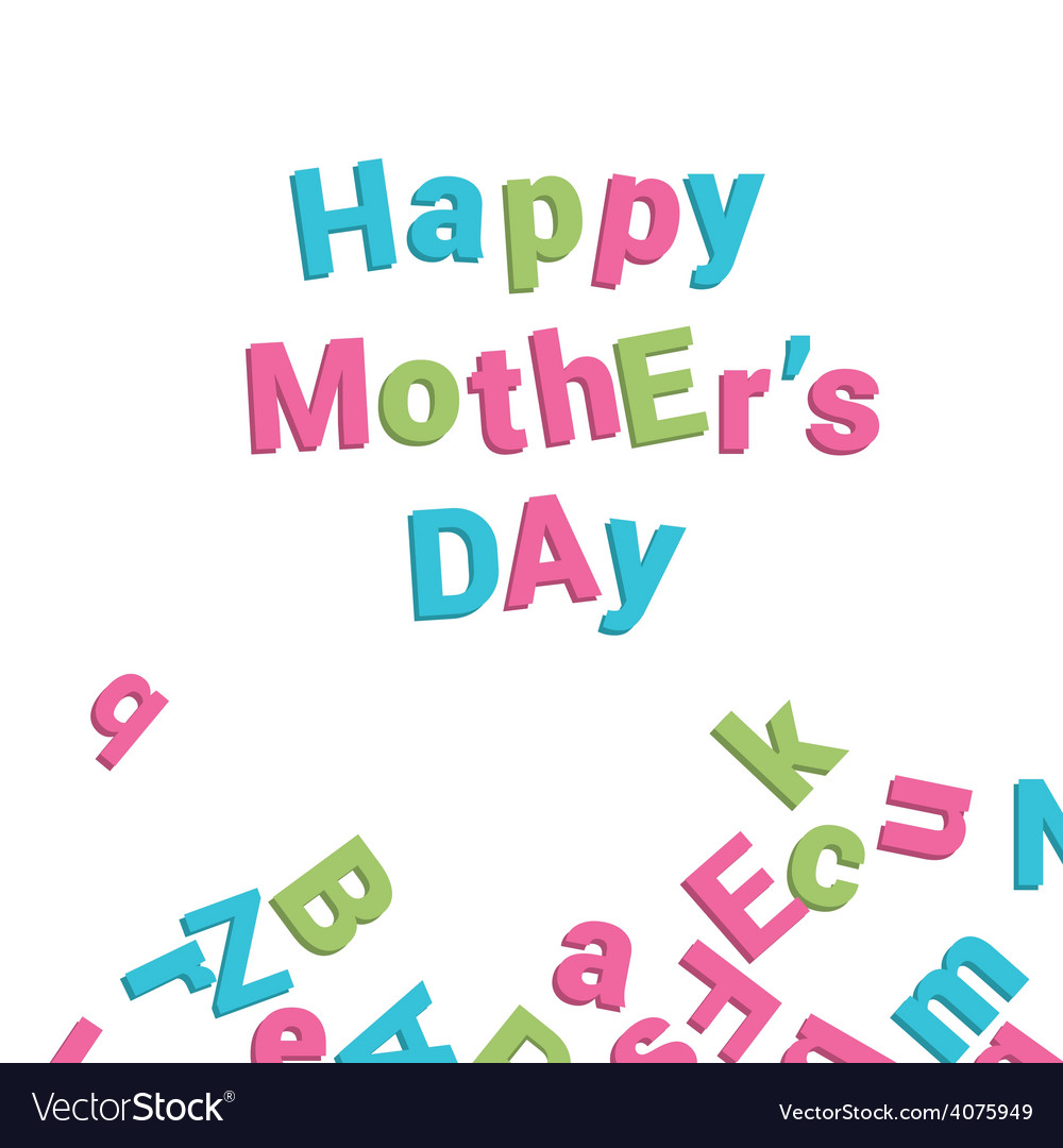 Mothers day card alphabet vector | Price: 1 Credit (USD $1)