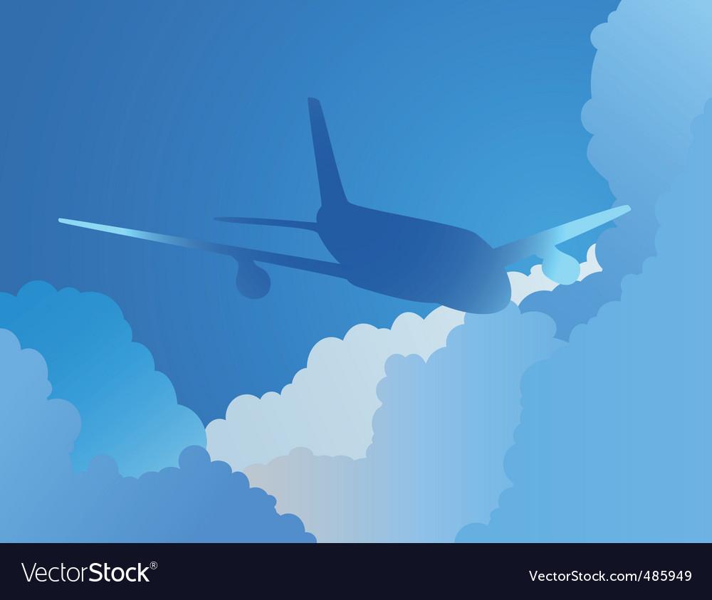 Plane in sky vector | Price: 1 Credit (USD $1)