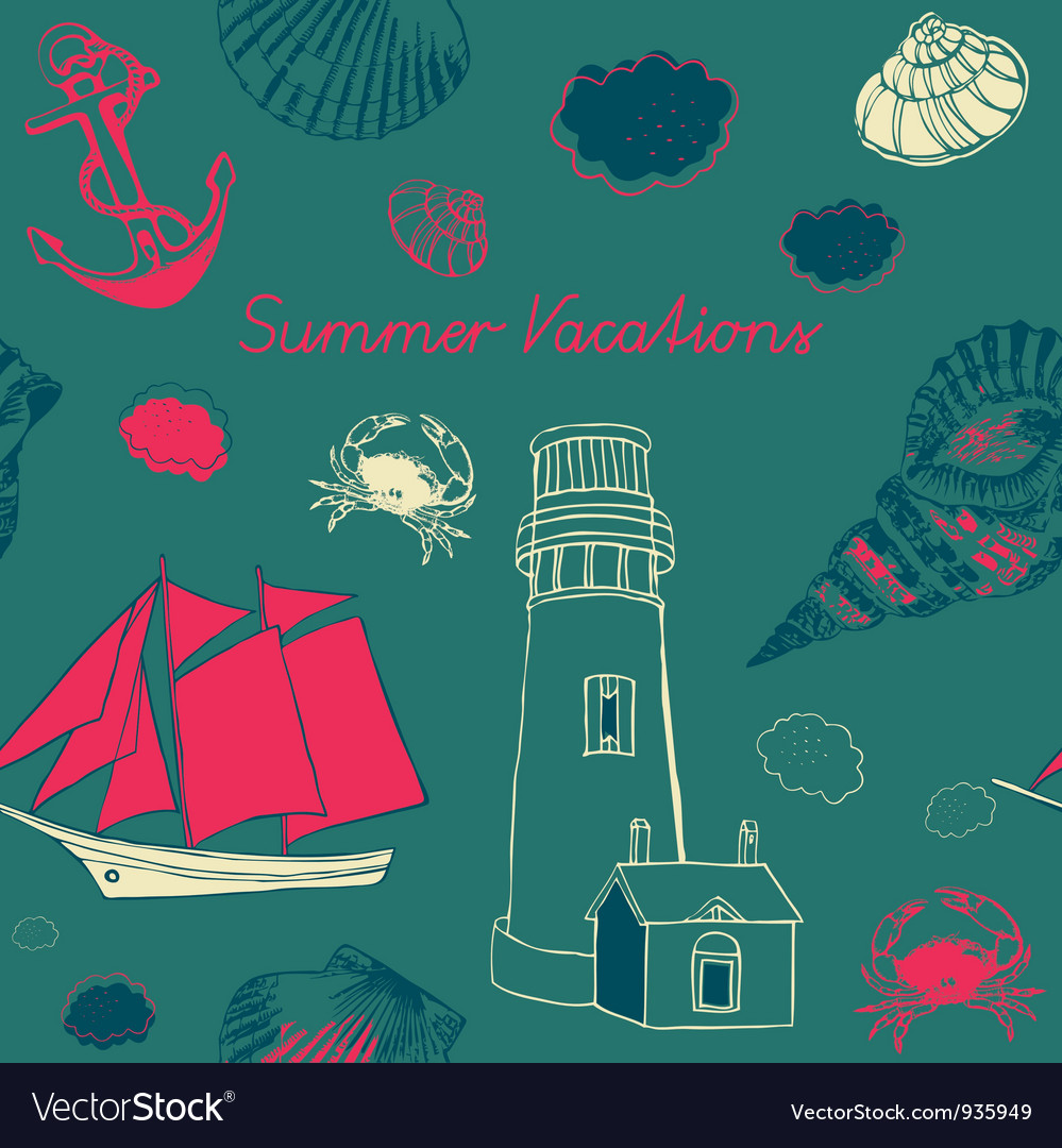 Sea coast vacation background vector | Price: 1 Credit (USD $1)