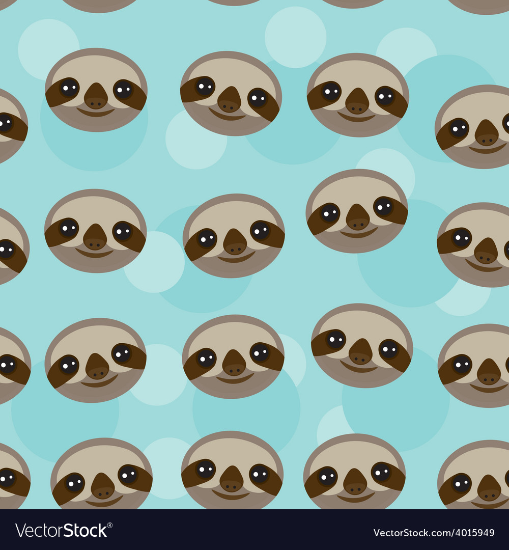 Seamless pattern three-toed sloth muzzle on blue vector | Price: 1 Credit (USD $1)