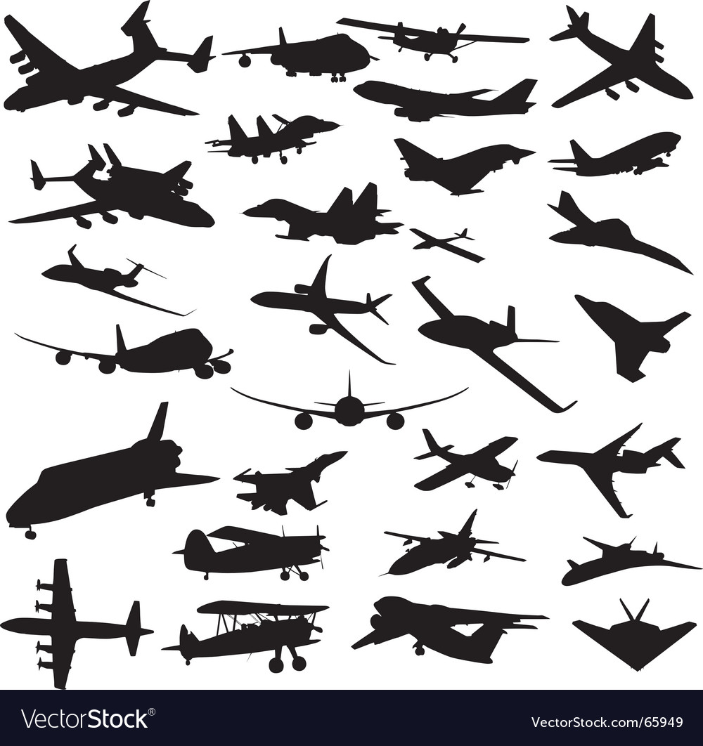 Set of planes silhouettes vector | Price: 1 Credit (USD $1)