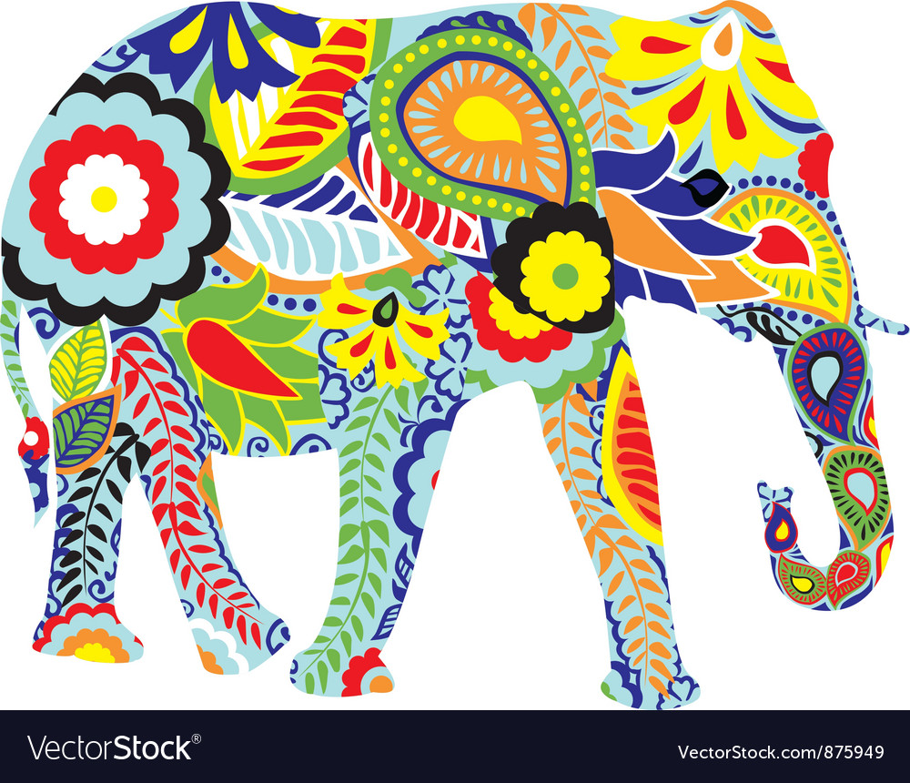 Silhouette of an elephant with indian designs vector | Price: 1 Credit (USD $1)