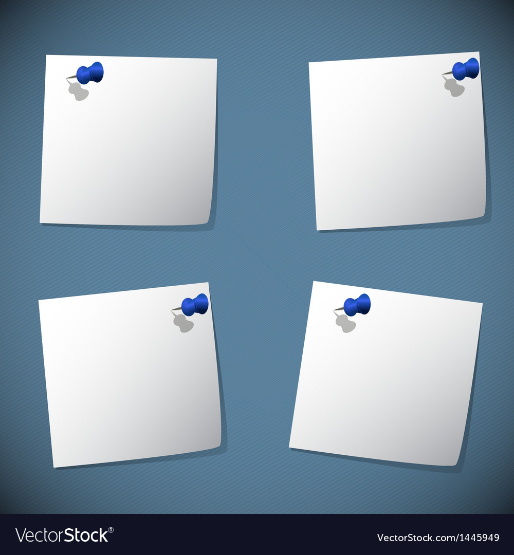 Square note papers with blue pin vector | Price: 1 Credit (USD $1)