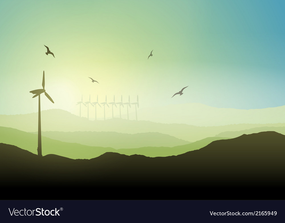 Wind turbine landscape vector | Price: 1 Credit (USD $1)